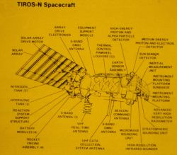 TIROS-N spacecraft diagram showing various sensor locations. Photo