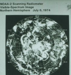 Composite image of Northern hemisphere derived from NOAA-2 scanning radiometer visible-spectrum image. Photo