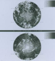 Northern and southern hemisphere composite views obtained from NOAA-6 infrared sensor Photo