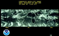 Composite geostationary satellite image of band of Earth. Photo