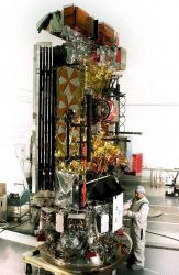 NOAA-M spacecraft being prepared for launch. Photo