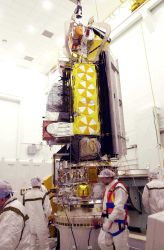 NOAA-N spacecraft sits attached to the Boeing Delta II payload attach fitting on the bottom. Photo