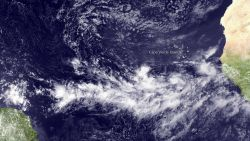 A tropical system forms off Africa just north of the Intertropical Convergence Zone (ITCZ). Image