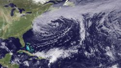 A storm system moving away from the Northeast United States Image