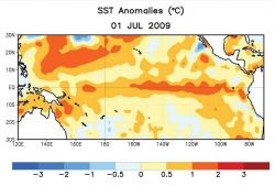Satellite sensor derived sea surface temperature anomalies Photo