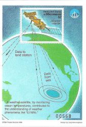Federated States of Micronesia $2.00 stamp highlighting role of weather satellites in monitoring sea surface temperatures and observing and predicting Photo