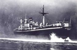Evgenia Chandris helped off rocks by Coast and Geodetic Survey Ship EXPLORER. Photo