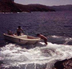 Jumping off Station PELICAN to bow of Boston Whaler Photo