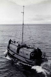 36' hydro launch with 30' shoran antenna. Photo