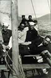 A diversion - a sailing party on the ship motor sailer Image