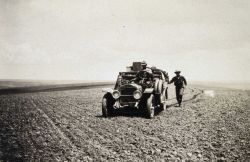 Approaching a station in an Oregon wheat field - White 3/4 ton truck Image