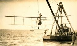 Dry-docking of float plane after return to base Photo