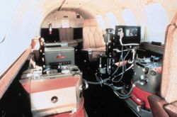 Modern aerial photographic equipment mounted in NOAA jet aircraft. Photo