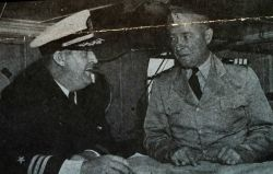 Commander Myron Graybill, commanding officer of the OCEANOGRAPHER, with Commander Bill Gibson, Executive Officer Photo