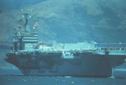 Aircraft carrier in San Francisco Bay Image
