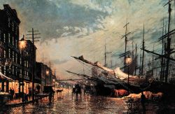 Painting of New York Harbor. Photo