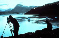 Observing with Wild T-2 near Columbia Glacier. Photo