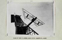 Closeup of Shoran antenna mounted on radar antenna Photo
