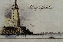 Diagram showing relationship of tide to marker at Poolbeg Lighthouse Photo