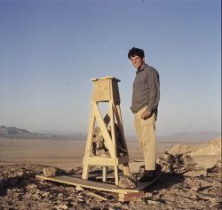 Small wooden stand on ridge in Mojave Desert Photo