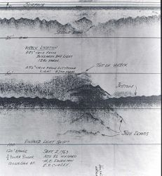 Early sidescan sonar record showing targets Photo