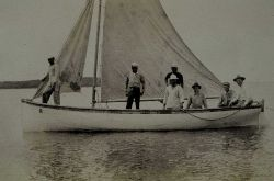 Survey boat under sail. Photo