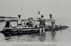 A C&GS survey party starting for Badoc Island on a bamboo raft. Photo