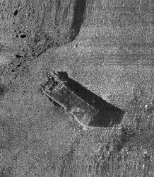 Sidescan sonar record of what appears to be a sunken LCVP Photo
