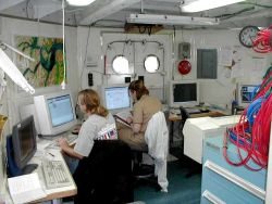 Hydrographic data processing office of NOAA survey ship. Photo
