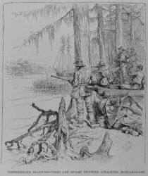 Confederate sharp-shooters attacking the mortar-boats during the Battle of New Orleans. Photo
