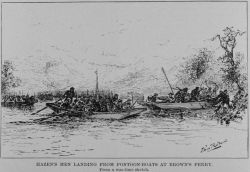 Hazen's men landing from pontoon boats at Brown's Ferry during the Battle of Chattanooga Photo
