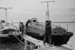 After the ice receded, these boats were used for hydrography in the Beaufort Sea . Photo