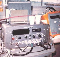 Electronics on inshore survey boat. Photo
