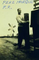 Francis Dillon Preparing to set a pre-cast concrete monument near Alma. Photo