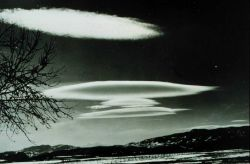 Altocumulus Lenticularis Associated with strong winds and standing waves in atmosphere Photo