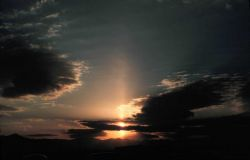 Sun pillar - most cases require ice crystals falling from cloud Falling ice crystals termed virga Photo