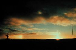 Sun pillar and parhelion Photo