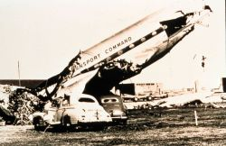 Remains of a large military aircraft after passage of tornado Tornado of March 25, 1948 at Tinker Air Force Base, Oklahoma The coming of this storm re Photo