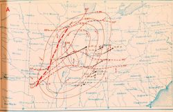Map showing weather situation and storm track of Tri-State Tornado Photo