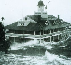 Storm surge from Hurricane Carol lashes Rhode Island Yacht Club Photo