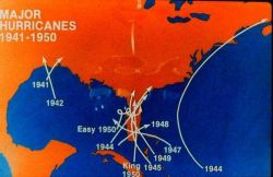 Major hurricanes striking the United States coastline 1941-1950 Note concentration of storms on Florida Photo