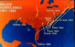 Major hurricanes striking the United States coastline 1951-1960 Note concentration of storms on East Coast Photo