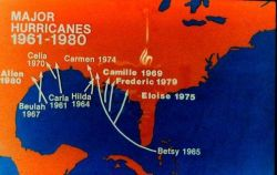 Major hurricanes striking the United States coastline 1961-1980 Note concentration of storms on Gulf Coast Photo