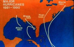 Major hurricanes striking the United States coastline 1981-1990 Note lack of concentration of storms in any particular area Photo