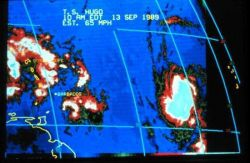 Enhanced infrared imagery of Tropical Storm Hugo on September 13, 1989 Storm beginning to develop far out in the tropical Atlantic Ocean Wind speed is Photo