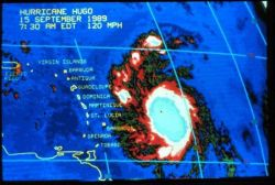 Enhanced infrared imagery of Hurricane Hugo on September 15, 1989 Storm 300 miles from Lesser Antilles Photo