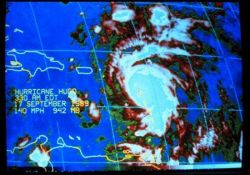 Enhanced infrared imagery of Hurricane Hugo early morning of September 17, 1989 Hugo, now a Category 4 storm, was centered over Guadeloupe Photo
