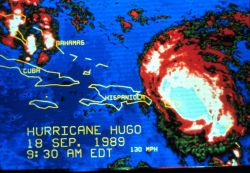 Enhanced infrared imagery of Hurricane Hugo morning of September 18, 1989 Hugo was centered near the northeast tip of Puerto Rico The storm had weaken Photo
