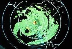Charleston NWS radar image of Hurricane Hugo on September 21, 1989 The eye was now about 75 miles southeast of Charleston with a 30-mile diameter The  Photo
