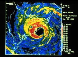 Digitized Charleston WSR-57 radar image of Hugo with superimposed winds Note strongest winds well east of Charleston near Bulls Bay This area experien Photo